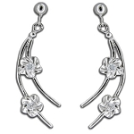 Silver Plumeria Dangly post earrings