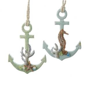 Wooden Anchor with Starfish/ Seahorse